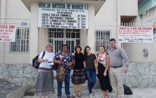 Group of people outside a church